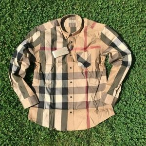 NEW BURBERRY LONDON MEN CAMEL SHIRT SIZE XL